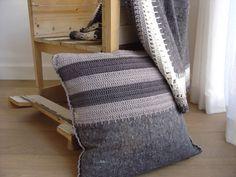 Larue grey striped pillow crocheted pillow in grey by etaussi