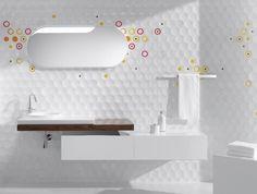 carrelage mural blanc 3D à motifs colorés dans la salle de bains épurée et moderne