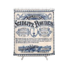 Inspired by vintage medicine labels, this curtain will certainly add a charming touch of character to any shower. Gorgeously ornate and featuring elegant, old-fashioned typefaces, this Apothecary Showe...  Find the Apothecary Shower Curtain, as seen in the The Apothecary's Bath Collection at http://dotandbo.com/collections/the-apothecarys-bath?utm_source=pinterest&utm_medium=organic&db_sku=112070