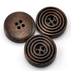 ZARABE Dark Coffee 4 Holes Round Wood Sewing Buttons 20mm(6/8') Dia. 25PCs >>> You can get additional details at the image link.