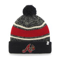 low priced 2ea80 73cda Atlanta Braves 47 Brand Navy Fairfax Cuff Knit Hat
