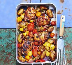 Amatriciana chicken traybake recipe - BBC Good Food - Inspired by the classic Italian pasta sauce, chicken thighs and new potatoes are flavoured with bacon and tomato in this easy one-pan meal Bbc Good Food Recipes, New Recipes, Cooking Recipes, Healthy Recipes, Roast Recipes, Easy Cooking, Recipies, Low Fodmap, Fodmap Diet