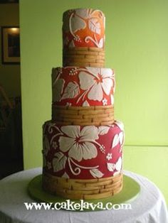 Tiered cake with hibiscus & bamboo edging