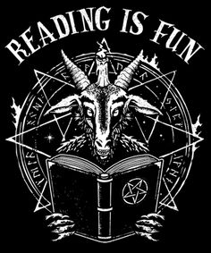 Reading Is Fun from Qwertee Dark Artwork, Cool Artwork, Laveyan Satanism, Skull Stencil, Day Of The Shirt, Satanic Art, Religious Books, Dark Images, Halloween Pictures