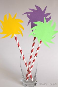 Make your own pixie stick story props for The Lorax by Dr. Suess