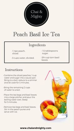 The delicious and refreshing recipe of this Peach ice tea is easy to make and has the natural flavour of ripe peaches. It makes for a perfect summer drink. Vegan Recipes, Snack Recipes, Cooking Recipes, Snacks, Iced Tea Recipes, Coffee Recipes, Yummy Drinks, Healthy Drinks, Herbal Tea Benefits