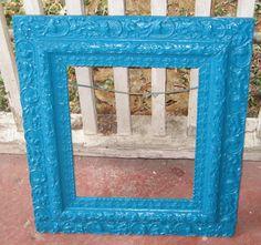 Frame Me Up Fab Ornate Antique Victorian  Wood N  Gesso Frame Painted Tickle Me Teal