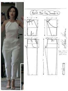 Molde De Blusa Modelo Princesa   Patrones De Costura Sewing Dress, Sewing Pants, Dress Sewing Patterns, Sewing Patterns Free, Sewing Clothes, Clothing Patterns, Diy Clothes, Jumpsuit Pattern, Pants Pattern