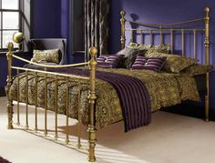 The Godiva bed frame in a antique brass finish, makes a fabulous addition to any bedroom.