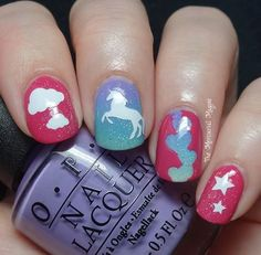 Unicorn decal mani by Kirby aka The Mercurial Magpie Blog