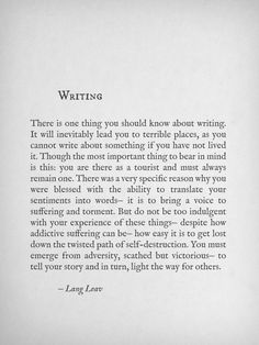 Writing advice from Lang Leav Writing Advice, Writing A Book, Writing Prompts, Quotes About Writing, Writing Poetry, Writing Motivation, Writer Quotes, Quotes From Books, Poetry Quotes