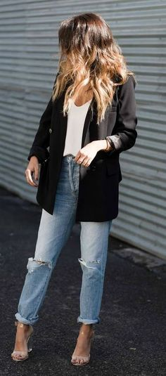casual style obsession / black blazer + ripped jeans + top + heels