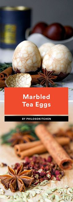 Marinating eggs is a popular Asian cooking method that results in some pretty intense and super-delicious flavor. We love the beautiful spiderweb pattern that comes from cracking the eggs before submerging them in the tea- and spice-infused liquid. While traditional recipes opt for black tea, these eggs are equally as delicious with green and red varieties. Eat alone or with a thin slice of fresh ginger.