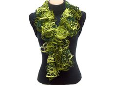 Hand knitted tones of green ruffled scarf by Arzus on Etsy, $19.90  My green!!!!!❤❤❤❤❤