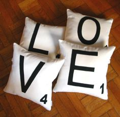 Any 4 Canvas Scrabble Letter Pillow COVERS, Letter Cushion COVERS, Felt Pillows - LOVE Pillow Covers or  any 4 letters. $100.00, via Etsy.