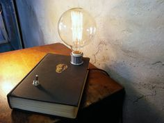 book lamp -- vintage lamp -- handmade -- upcycled lamp -- industrial lighting -- chic lighting -- steampunk -- November Reserve
