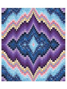 "The Sweet Dreams Bargello quilt pattern is beautifully mesmerizing. It uses 23 different shades of fabrics and is constructed using the strip-piecing method. Finished size of this bargello quilt is 59"" x 69""."