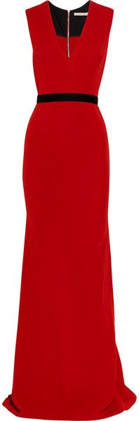 Victoria Beckham England Belted Wool and Silkblend Double Crepe Gown