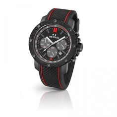 TW Steel Watch TECH TS6: This TW Steel watch offers a dark titanium coated steel case with silicon strap with red lines. TW Steel watches are already known for the combination of quality and style. 10 ATM water resistant, PVD black coated hammered bezel, Reinforced Mineral Crystal with Sapphire Layer are some great features of this watch.