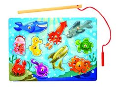 Melissa & Doug 3778 Magnetic Wooden Fishing Game and Puzzle With Ocean Animal
