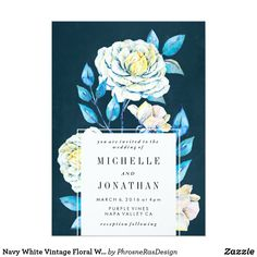 Navy White Vintage Floral Wedding Invitation Chalk Illustrated flowers, white roses and turquoise colors. Blue and White Rose Kraft. Shabby chic and trendy bold flowers. Garden weddings with a bohemian theme. Navy Background. Dark Blue.