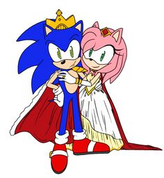 "Commission for . I would've gone with the ""popular"" design used for Queen Amy, but I felt Amy is more of a big and fancy type dresser considering . Commission: King Sonic and Queen Amy Sonic Y Amy, Sonic Art, Sonic The Hedgehog, Shadow The Hedgehog, Sonic Fan Characters, Disney Characters, Robot, Top Imagem, Rose Pictures"