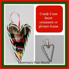 Momma's Fun World: DIY....candy cane picture frame ornament