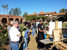 Signature Member Saim Caglayan leads LPAPA Mentor Paint Out at Mission San Juan Capistrano, January 2015