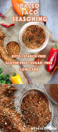 Low Carb Paleo Taco Seasoning - My PCOS Kitchen - A delicious low carb keto and paleo version of taco seasoning that doesn't use any starches sugars or unhealthy oils. via My PCOS Kitchen Gluten Free Recipes, Low Carb Recipes, Diet Recipes, Healthy Recipes, Kitchen Recipes, Delicious Recipes, Keto Foods, Paleo Taco Seasoning, Sugar Free Taco Seasoning Recipe