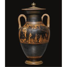 A LARGE ATTIC BLACK-FIGURED AMPHORA AND LID WITH THE APOTHEOSIS OF HERAKLES, ATTRIBUTED TO THE ANTIMENES PAINTER OR HIS MANNER, CIRCA 520-51...