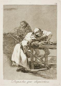 """Francisco de Goya: """"Despacha, que dispiértan"""". Serie """"Los caprichos"""" [78]. Etching and aquatint on paper, 212 x 150 mm, 1797-99. Museo Nacional del Prado, Madrid, Spain"""
