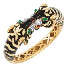 Gold, Enamel, Green Onyx and Diamond Tiger Head Bangle Bracelet 18 kt. Gold Fangs, Cartier Jewelry, Jewellery, Famous Jewelers, Bangle Bracelets, Bangles, Tiger Head, Green Onyx, Diamond Are A Girls Best Friend