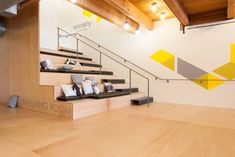 "Bleacher Seating and VM  Use this idea for ""True Value"" Location in Berkeley!  bleacher seating and office - Google Search"