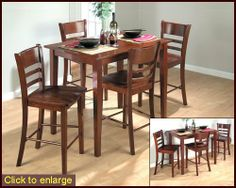 """Bailey Brown Counter Height Dining Set JO-850C-30s by Jofran. $614.00. Bailey Brown Finish over Solid Asian Hardwood Includes: 1 x Fixed Top Counter Height Table - JO-850C-30 4 x Lifestyle Counter Height Stool - JO-850C-BS016KD Dimensions: Counter Height Table - 30"""" x 42"""" Lifestyle Counter Height Stool - 17"""" x 21"""" x 39""""H Features: Contemporary Design. Lifestyle Counter Height Stool (RTA 2/CTN)."""