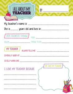 All About My Teacher Questionnaire Printables by TealOliveDesigns I Love My Teacher, Teacher Name, Your Teacher, Best Teacher, Preschool Teacher Gifts, Toddler Teacher, Teacher Quotes, Preschool Learning, Teacher Appreciation Letter