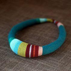 tribal fiber necklace by kjoo on Etsy