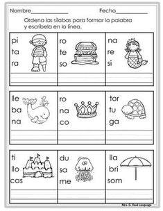 Palabras de tres sílabas. Páginas de práctica