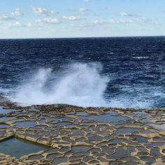 A Splash of water a Little wave filling the sea salt factory Sea Salt, Malta, Niagara Falls, Places To Travel, Seaside, Waves, Vacation, Instagram Posts, Malt Beer