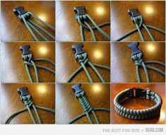 diy -- Paracord bracelet    http://www.instructables.com/id/Paracord-bracelet-with-a-side-release-buckle/
