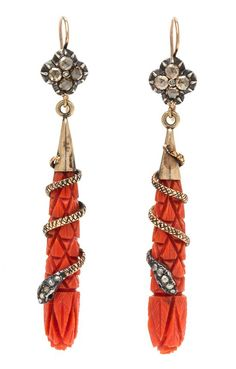 A Pair of Victorian Gold, Silver, Coral and Diamond Serpent Motif Pendant Earrings