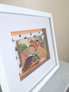 Over the Bridge - Vintage Children's Book Framed 3D Artwork on Etsy, $35.00 AUD