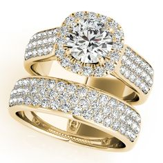 Three Row Halo Diamond Engagement Ring Bridal Set 18k Y. Gold 2.38ct - Allurez.com