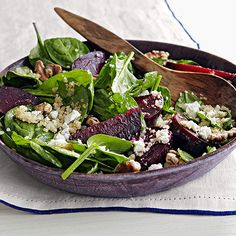 Spinach Salad with Beets, Quinoa & Goat Cheese Serve this hearty salad as a light dinner or side dish.