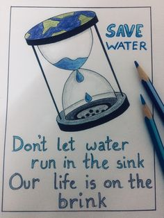 Save Earth Drawing, Drawing For Kids, Water Pollution Poster, Water Pollution Quotes, Save Earth Posters, Poster On Save Water, Save Water Slogans, Save Water Poster Drawing, Vexx Art