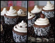 I have used a rich chocolate cake recipe and liberally mixed in mini chocolate chips. The icing is a Kaluha buttercream, topped off with a chocolate covered coffee bean! Chocolate Covered Coffee Beans, Mini Chocolate Chips, Chocolate Cupcakes, Mini Cupcakes, Cupcake Cakes, Cup Cakes, Kahlua Recipes, Cupcake Recipes, No Bake Cake