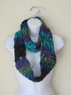 INFINITY SCARF in PEACOCK Colors. Beautiful Soft by Bluetulipgifts, $20.00