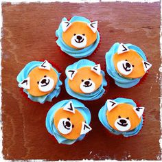 Red panda cupcakes for Adrian's birthday.