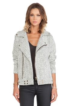 I love the light multi grey color & texture of this biker, makes it perfect for the transition from summer to fall!