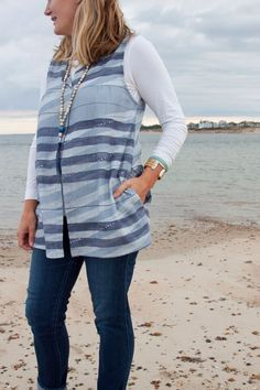 above Sarah wears her West Water Tunic without a collar, made with Nani Iro fabric
