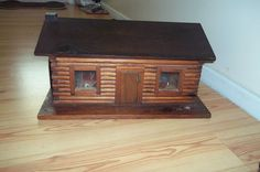 RARE/VINTAGE LOG CABIN DOLL HOUSE & WOOD FURNITURE iNCLUDED - HANDMADE